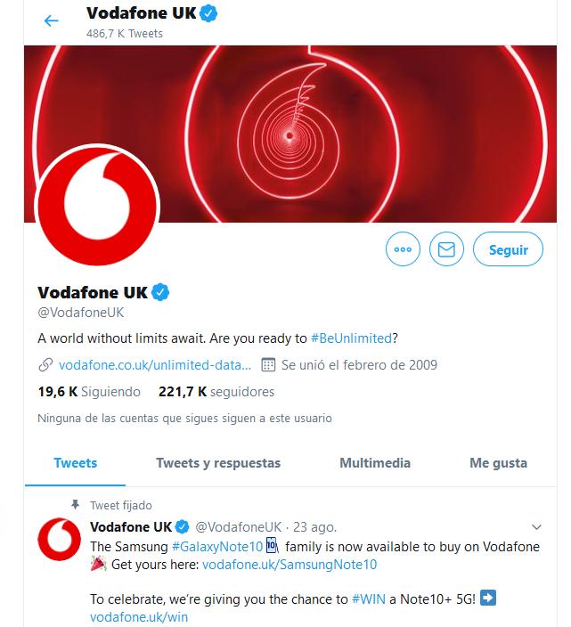 Vodafone en Twitter
