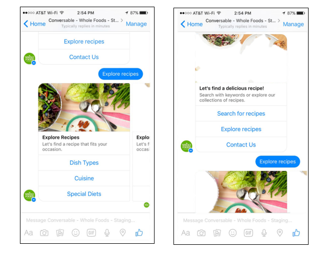 copywriting para chatbots: Whole Foods