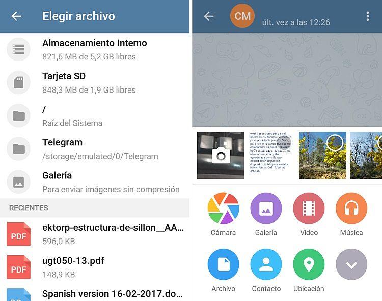opciones de Telegram