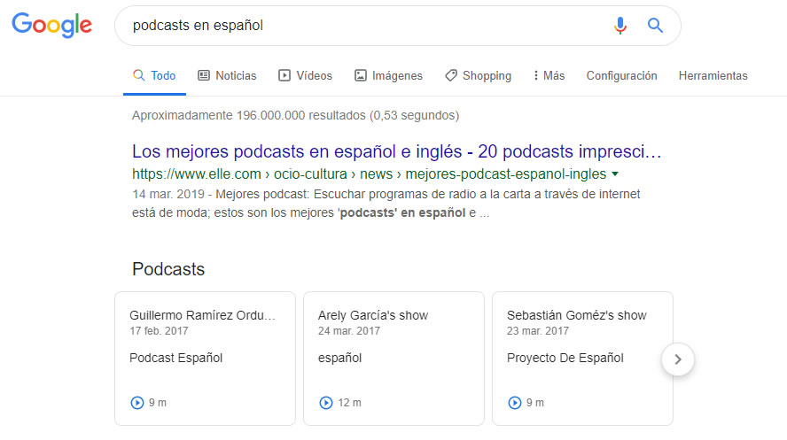 reproducir podcast en las SERPs de Google