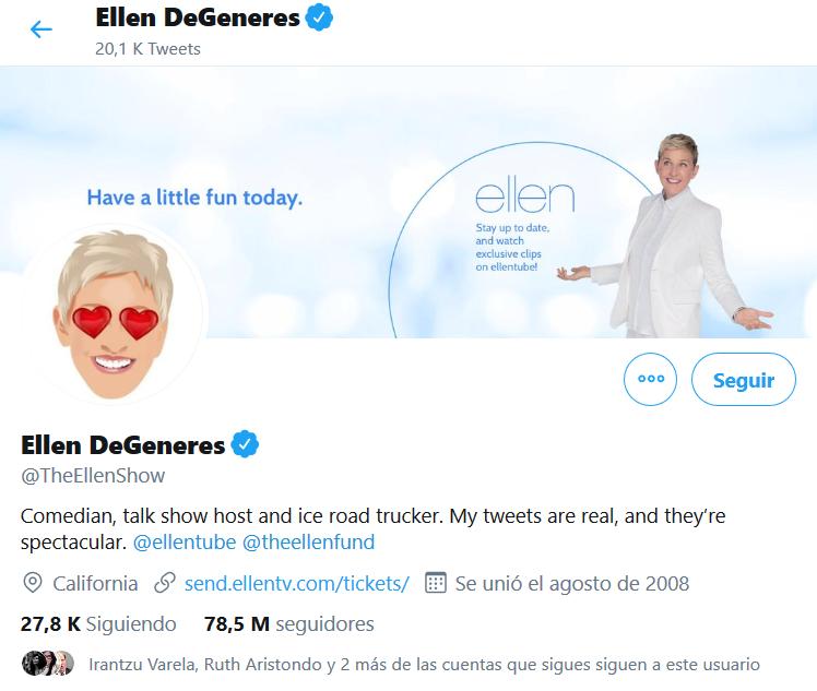 Ellen Degeneres twitter