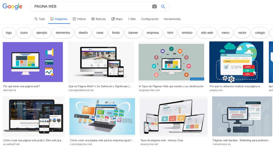 Sección de imágenes de Google
