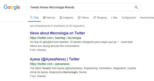 búsquedas de mensajes de Twitter