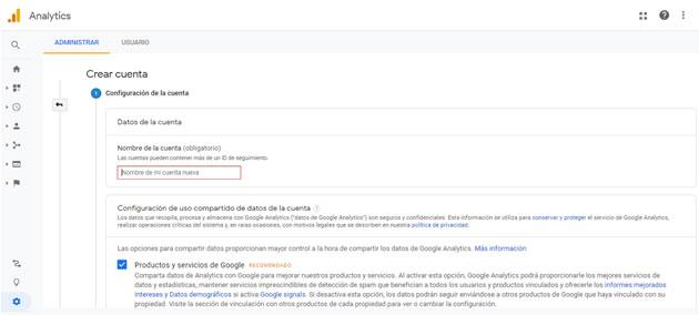 configurar Google Analytics en una web: crear cuenta