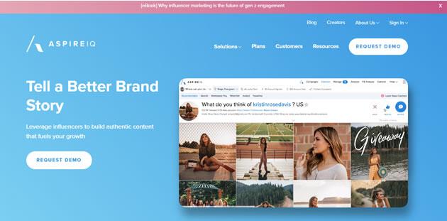 webs que ayudan a encontrar influencers: AspireQ