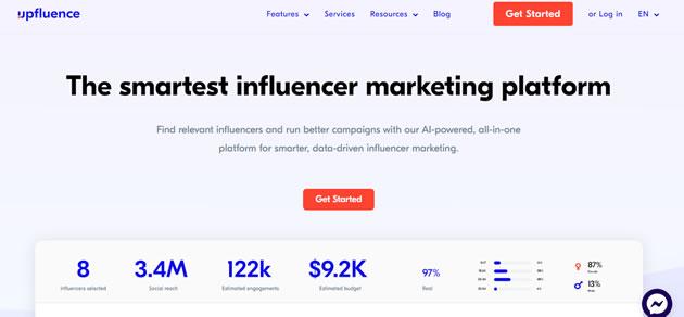 webs que ayudan a encontrar influencers: Upfluence