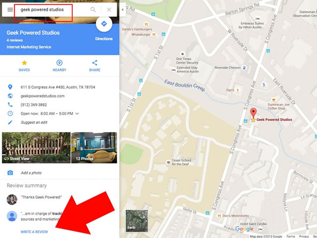 negocio en Google Maps: reviews
