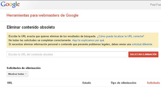 Eliminar página con Google Removals
