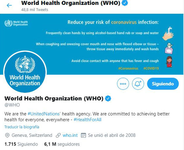 Perfil oficial de la OMS en Twitter