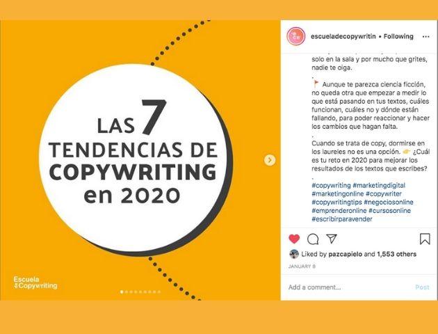 Ejemplo de la cuenta la escuela de copywriting