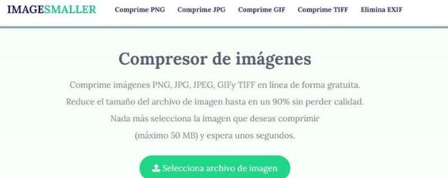 reducir el tamaño de tus fotos: ImageSmaller