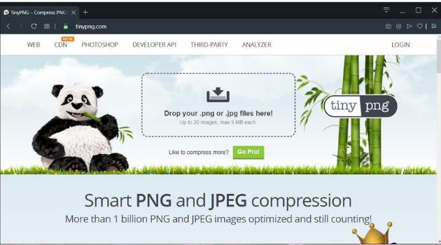 reducir el tamaño de tus fotos: TinyPNG