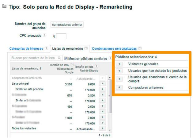 Listas de remarketing en Google Ads