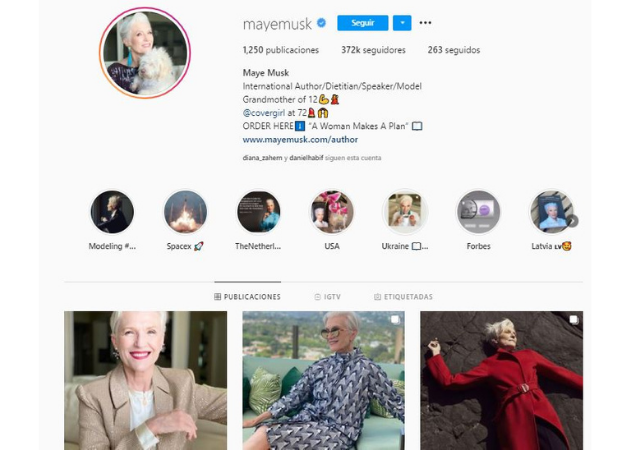 Influencer senior Maye Musk
