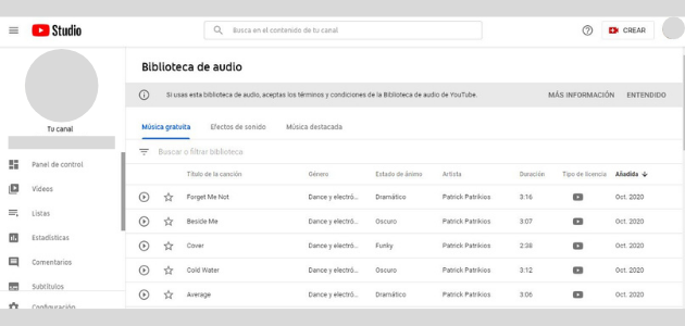 YouTube Audio Library: música sin copyright para vídeos