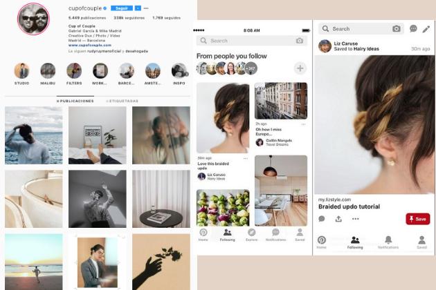 Publicaciones en Instagram y Pinterest